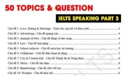 IELTS Speaking Part 3: 50 Chủ đề và Câu hỏi hay gặp nhất