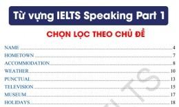 Tổng hợp từ vựng trong IELTS Speaking Part 1 hay nhất