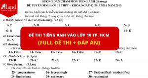 Đề thi tiếng Anh vào lớp 10 Tp. HCM {Full đề thi + Đáp án}