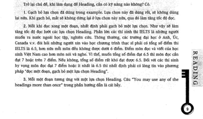 Tips cho dạng bài matching the headings