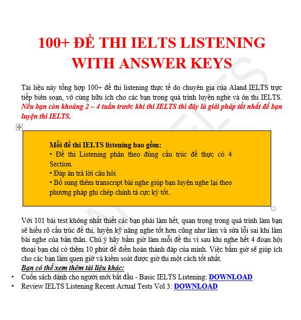 100+ đề thi ielts listening