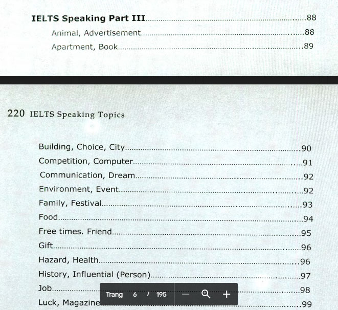 nội dung bên trong 220 IELTS Speaking Topics